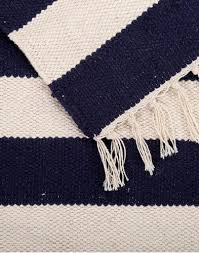 Flat Weave Cotton Area Rugs Nautical Area Rug Navy Ivory Cotton Handwoven Flat Weave Rug
