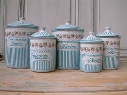 vintage french enamel kitchen canister set rose garland turquoise