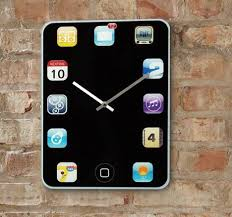 decoration iphone wall clock unique and creative design silver