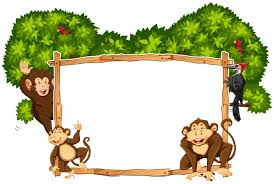 border template with monkeys and toucan vector free download