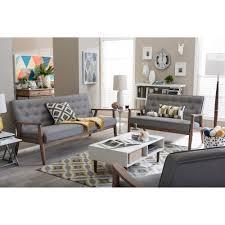 3 Pc Living Room Set Baxton Studio Sorrento Mid Century Retro Modern Grey Fabric