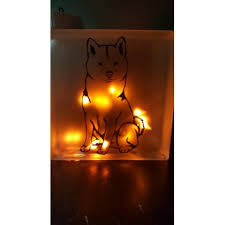 Decorative Glass Block Lights Shiba Inu Glass Block