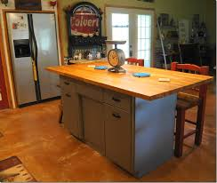 repurposed kitchen island metal cabinet turned into butcher block island repurposed