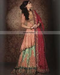 top pakistani designers bridal wear 2016 peach green lehnga