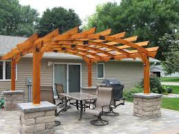captivating wooden pergola design ideas with wooden deck and