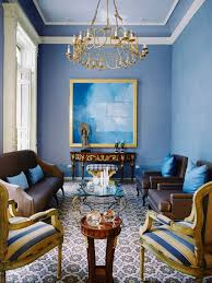 Gold Sofa Living Room Classic Blue Gold Living Room With Luxurious Pendant L And