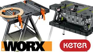 keter portable work table worx pegasus folding work table vs keter review and demo youtube