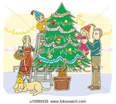 drawing of painting of family decorating christmas tree together