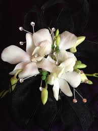 Black And White Corsage White Orchids Corsage With Black Ribbon And Bling Boutonnieres