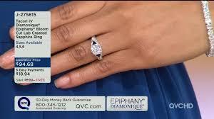 qvc wedding bands tacori iv diamonique epiphany bloom cut lab created sapphire ring