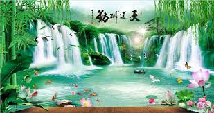 custom large murals fabric wallpaper 3d wall sitting room b53 custom large murals fabric wallpaper 3d wall sitting room b53 bedroom fashion tv sofa background chinese style classical landscape waterfall screensavers