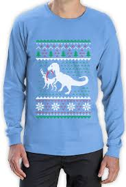 ugly christmas sweater t rex vs reindeer funny xmas long sleeve t