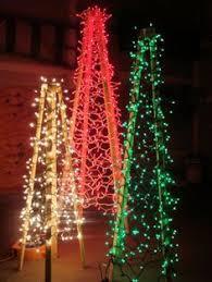 diy christmas ideas make a tree of lights using a basketball pole