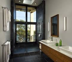 copper slate tile bathroom midcentury with soap niche alcove