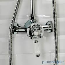 Bath Shower Thermostatic Mixer Traditional Bathroom Mixer Shower Exposed Round Chrome