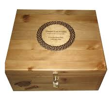 engravable keepsake box plain large wooden keepsake storage box personalised celtic plaque