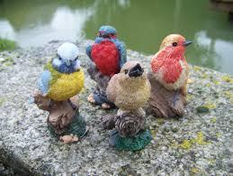 animaux resine jardin na0832 figurine statuette statue lot de 4 oiseau collection jardin