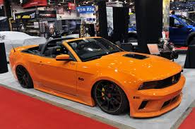 Bright Orange Paint by Sema Spotlight Tjin Edition Uti Mustang Drop Top Wows The Crowds