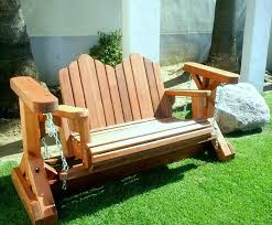 front porch inspiring outdoor glider chair with oak materials for