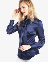 navy blouse s navy fitted luxury satin blouse bow hawes curtis