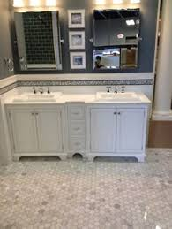 white gray bathroom mosaic subway hex tiles house of