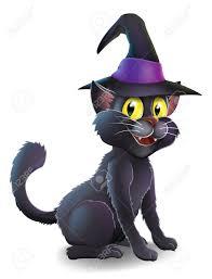 a cartoon witch u0027s familiar black cat wearing a pointy witch u0027s