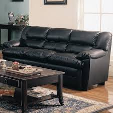 Coaster Leather Sofa Coaster Black Overstuffed Bonded Leather Sofa 501921