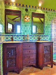 bathroom using mexican tiles green blue orange red i love that