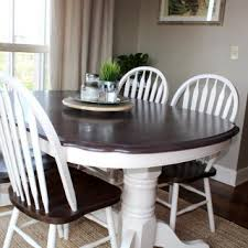 kitchen table transformation using chalk paint and wood stain