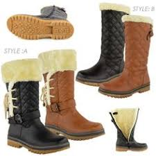 womens quilted boots uk sporto waterproof suede lace up boot faux fur trim w