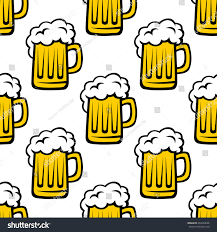 cartoon beer no background fresh beer tankard seamless pattern drink stock vector 284968046