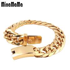 stainless steel buckle bracelet images High quality stainless steel gold color curb cuban chain link jpg