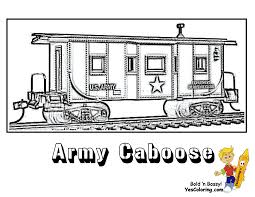 train coloring page for kids of army train caboose ironhorse