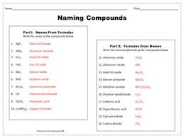 naming compounds worksheet for review or assessment by science