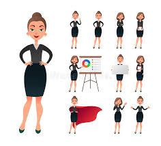 jeu de travail au bureau jeu de caractères travaillant de femme d affaires dame réussie
