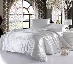 White Silk Bedding Sets White Imitated Satin Silk Bedding Cheap Bedding Sets