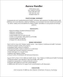Technician Resume Examples by Professional Behavioral Health Technician Templates To Showcase