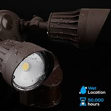 3 head security light 20w dual head motion activated led outdoor security light 3000k warm