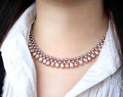 pink pearl gold necklace images 3 row white pink mauve or black pearl necklace and bracelet jpg