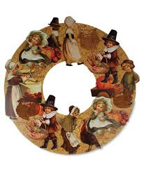 bethany lowe thanksgiving die cut wreath with children pilgrims