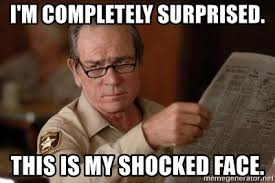 Surprised Face Meme - i m completely surprised this is my shocked face tommy lee jones