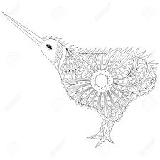 hand drawn tribal kiwi bird symbol of new zealand for