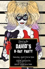 harley quinn custom digital printable birthday party invite