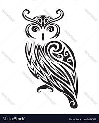decorative ornamental owl silhouette royalty free vector