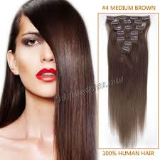 human hair extensions inch 4 medium brown clip in human hair extensions 7pcs