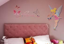 chambre fee fresque murale dans une chambre d enfant thème fée clochette et