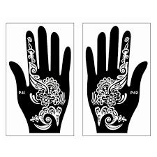 2pcs large mehndi indian henna tattoo templates hand finger