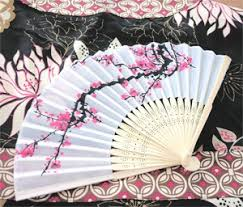 asian fan cherry blossom silk fans baby shower gifts