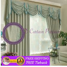 Blue Swag Curtains Swags Valance Pelmets Door Curtain Fabric Drapes Blue Green Sheer