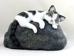 cat cremation ceramic engraved painted bottom loading cat cremation urn